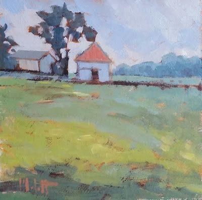 Contemporary Landscape Farm Original Oil Painting Heidi Malott