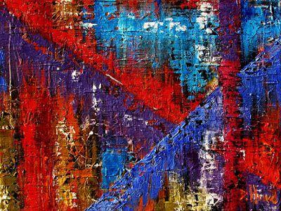 "Abstract Textured Painting Mixed Media Art Red, Blue, Purple ""Intersection"" by Debra Hurd"