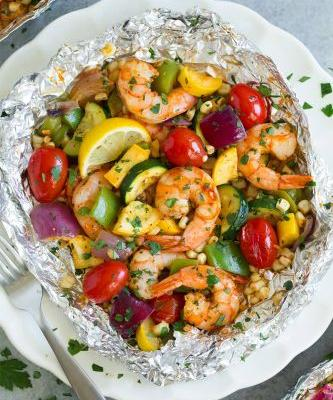 Shrimp and Summer Veggie Foil Packs