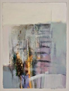 "Contemporary Abstract Landscape Painting ""Vertical Fence"" by Intuitive Artist Joan Fullerton"