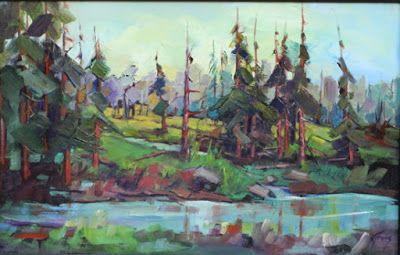 """Contemporary Impressionist Colorado Landscape Painting, Fine Art Oil Painting """"Marsh"""" by Colorado Contemporary Fine Artist Jody Ahrens"""