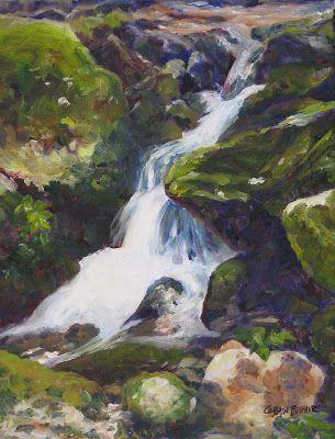 Waterfall, 11x14 Oil on Canvas, Smoky Mountain Landscape Painting
