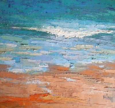 """Daily Painting, Seascape Painting, Ocean Painting, Beach Painting, """"Celebrating Blue"""" 16x20x1.5"""" Oil SOLD"""