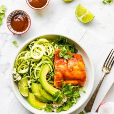 BBQ Baked Salmon and Zucchini Bowls