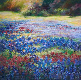 """New """"Visions of Wildflowers II"""" Palette Knife Bluebonnet Oil Painting by Niki Gulley"""