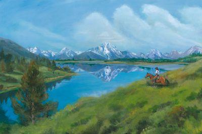 """Original Wyoming Mountain Landscape Painting """"Mount Moran Reflection"""" by Nancee Jean Busse, Painter of the American West"""