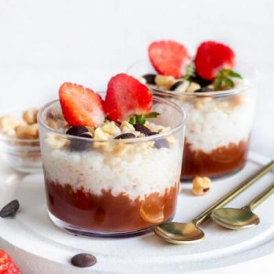 Rice Pudding with Chocolate Ganache