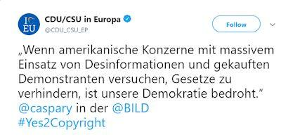 Merkel's party in hurricane-strength shitstorm after falsely alleging U.S. corporations pay anti-Article 13 demonstrators