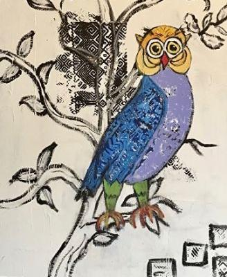 "Contemporary Painting, Folk Art, Narrative Art Painting,Still Life ""My Owl Totem, Tesuque, New Mexico"" Narrative Art by Santa Fe Artist Judi Goolsby"