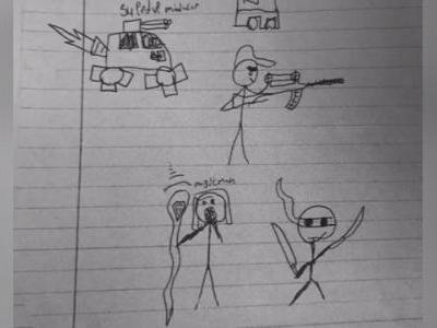 Middle school student suspended for drawing of stick figure holding gun