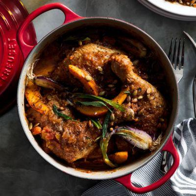 Braised Chicken with Squash and Pepitas