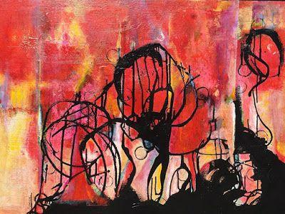 """Contemporary Abstract Expressionist Painting """"DANCING TOGETHER"""" by Contemporary Expressionist Pamela Fowler Lordi"""