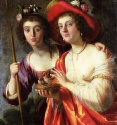 Longing for a couple of Soft, Docile17C-18C Gentlewomen Tending Sheep - Pastoral Allegories