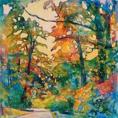 """Contemporary Colorful Landscape Painting, Mixed Media, Trees, Fine Art For Sale, """"The Road is Still On The Map"""" By Passionate Purposeful Painter Holly Hunter Berry"""