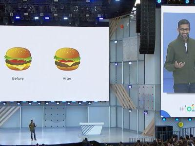 Google's CEO kicked off the big Google event by apologizing about the inaccurate burger emoji on Android - then he showed off the new design