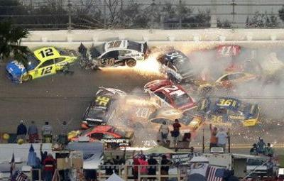 Wreck-filled Daytona 500 finally ends with Hamlin victory