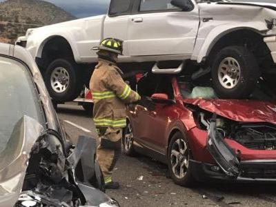 Freak Accident Sees Mazda Pickup Truck Mount Honda SUV
