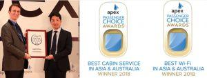 """Japan Airlines wins """"Best Cabin Service"""" and """"Best Wi-Fi"""" APEX Regional Passenger Choice Awards™"""