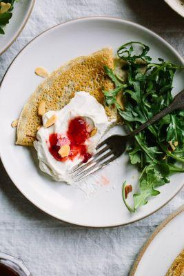 Whipped Ricotta, Goat Cheese and Strawberry Buckwheat Crepes