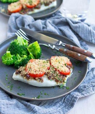 Baked Cod Recipe with Olive Tapenade & Tomatoes