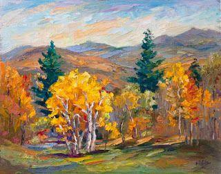 """""""Fall Majesty"""" Palette Knife Painting by Contemporary Impressionist Niki Gulley"""