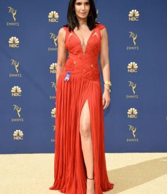 Padma Lakshmi Recycles a Red Evening Gown at the 2018 Emmys