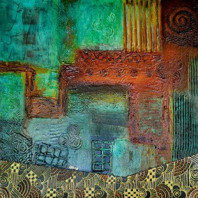 """Original Contemporary Painting, Abstract, Patina, Mixed Media Art """"Abstract 1-Pipe Dream"""" Painting by Contemporary Arizona Artist Pat Stacy"""
