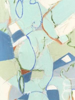 """Contemporary Abstract Expressionist Painting """"PICNIC WITH BEACH GLASS"""" by Abstract Artist Pamela Fowler Lordi"""