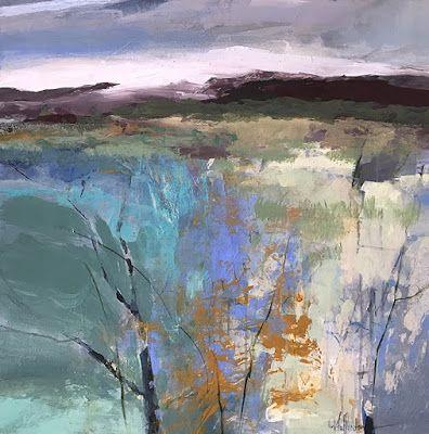 """Contemporary Abstract Mixed Media Landscape Painting """"PRAIRIE COLOR"""" by Intuitive Artist Joan Fullerton"""
