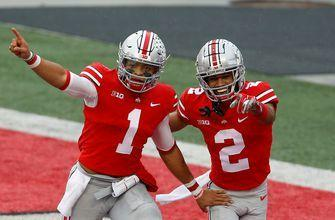 Justin Fields leaps into end zone for touchdown, Ohio State takes 28-7 lead on Indiana