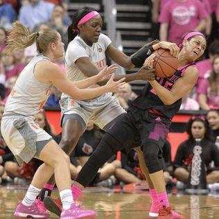 Hof, No. 20 Miami women beat No. 2 Louisville 79-73