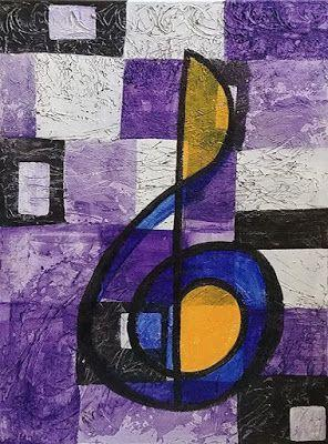 """Music Art, Treble Clef, Abstract Expressionism, Contemporary Art, Acrylic Painting """"Blue Note"""" by Arizona Abstract Artist Cynthia A. Berg"""