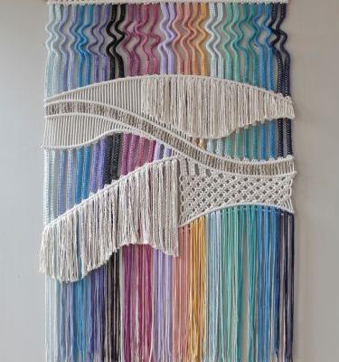 Rainbow Threads Are Knotted into Elaborate Macramé Wall Hangings by Agnes Hansella