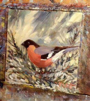 Christmas Tree Bird Ornament Original Oil Painting Art Giveaway