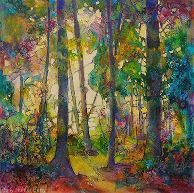 """Contemporary Landscape, Tree Painting, Mixed Media, """"Through The Stained Glass"""", By Passionate Purposeful Painter Holly Hunter Berry"""