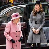 Kate Middleton's Gray Coat Was Artfully Chosen to Complement the Queen's Outfit