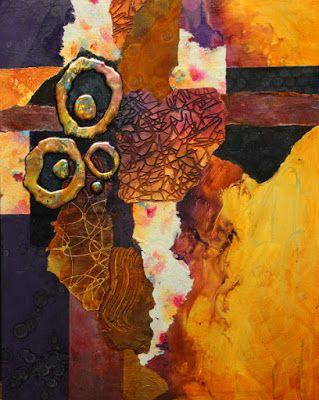 """Abstract mixed media collage painting, """"Slow Tango"""" © Carol Nelson Fine Art"""