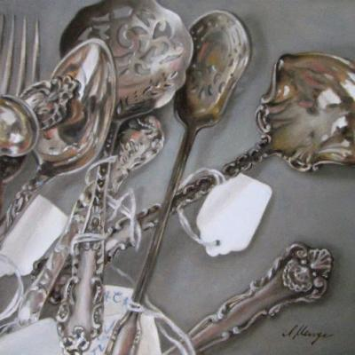 Antique sterling silver flatware serving pieces Victorian oil painting still life 8x8 in