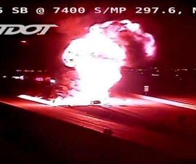 Huge gas tanker explosion shuts down highway