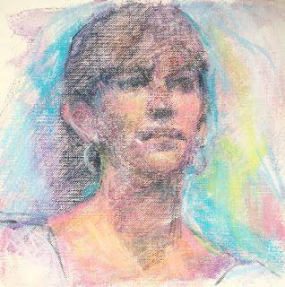 "FACIAL STUDY - 6"" x 6"" pastel on canvas by Susan Roden"