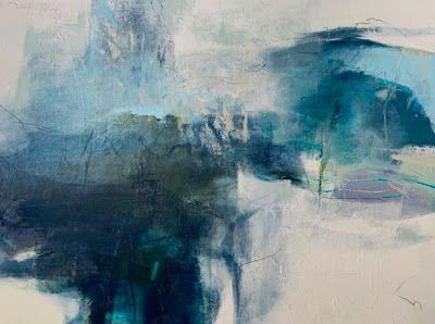 """Contemporary Art, Abstract Landscape Painting, Fine Art For Sale """"Singing The Blues"""" by Intuitive Artist Joan Fullerton"""