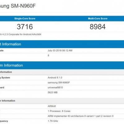Samsung Galaxy Note 9 Benchmarked With 6GB RAM, Android 8.1