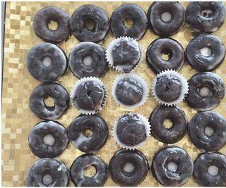 Gluten Free Glazed Chocolate Donuts, Cupcakes and Cake