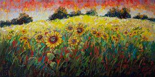"""New """"Sun's Bounty III"""" Palette Knife Oil Painting by Contemporary Impressionist Niki Gulley"""
