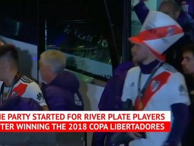 River players in party mode after Copa Lib win