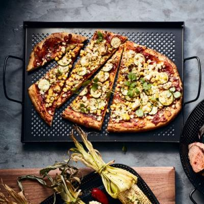 Zucchini and Corn Pizza with Ghost Chile Sauce