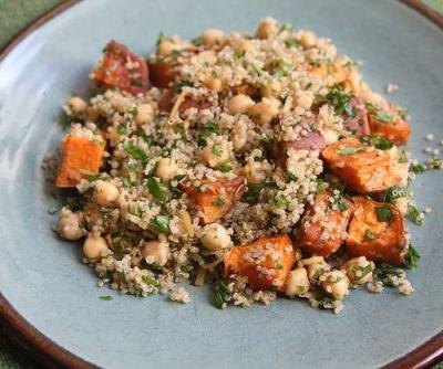 Roasted Sweet Potato and Quinoa Salad with Chickpeas and Preserved Lemon