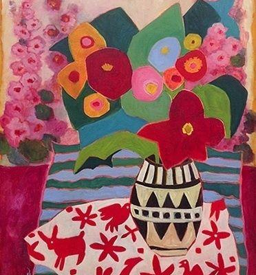 "Bold Expressive Still Life Flower Art Painting ""Summer's Here"" by Santa Fe Artist Annie O'Brien Gonzales"