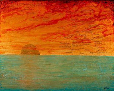 "Contemporary Map Art, Florida Map Art Print ""SUNRISE/SUNSET ON THE SUNSHINE STATE"" by Contemporary Artist Brian Billow"