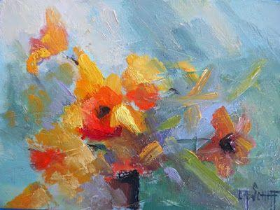 "Abstract Floral Painting, Small Oil Painting, Daily Painting, ""It's Finally Spring"", 6x8"" Oil on panel"